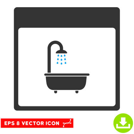 shower bath: Shower Bath Calendar Page icon. Vector EPS illustration style is flat iconic bicolor symbol, blue and gray colors.