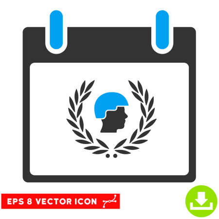 bobby: Soldier Laurel Wreath Calendar Day icon. Vector EPS illustration style is flat iconic bicolor symbol, blue and gray colors.