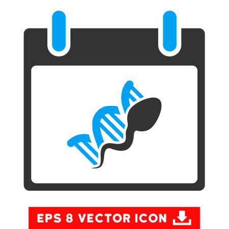 replication: Sperm DNA Replication Calendar Day icon. Vector EPS illustration style is flat iconic bicolor symbol, blue and gray colors.