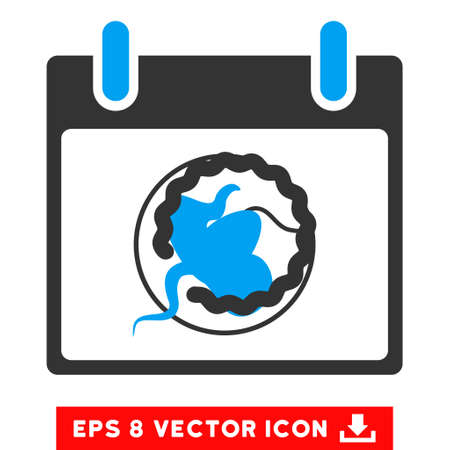 Sperm Insemination Calendar Page icon. Vector EPS illustration style is flat iconic bicolor symbol, blue and gray colors.