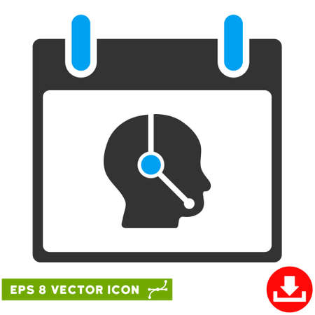 talker: Telemarketing Operator Calendar Day icon. Vector EPS illustration style is flat iconic bicolor symbol, blue and gray colors.