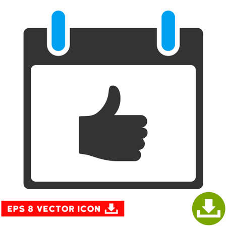Thumb Up Calendar Day icon. Vector EPS illustration style is flat iconic bicolor symbol, blue and gray colors.