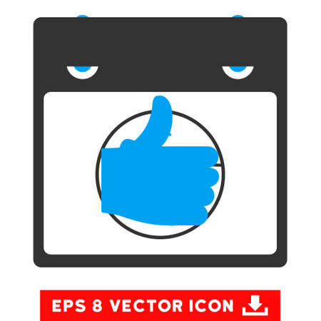 date validate: Thumb Up Calendar Page icon. Vector EPS illustration style is flat iconic bicolor symbol, blue and gray colors.
