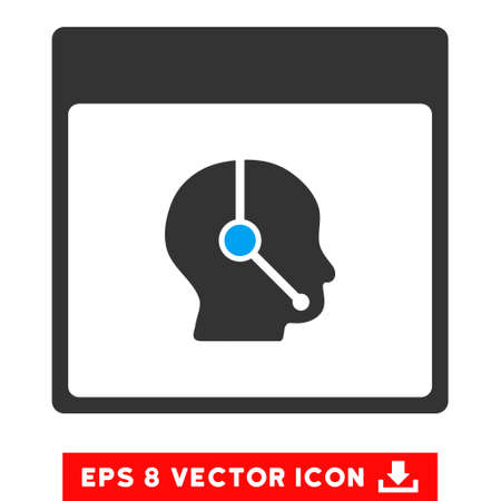 talker: Telemarketing Operator Calendar Page icon. Vector EPS illustration style is flat iconic bicolor symbol, blue and gray colors. Illustration