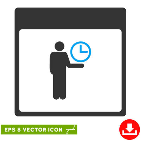 temporary workers: Time Manager Calendar Page icon. Vector EPS illustration style is flat iconic bicolor symbol, blue and gray colors.