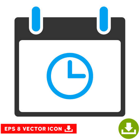 clockface: Time Calendar Day icon. Vector EPS illustration style is flat iconic bicolor symbol, blue and gray colors.