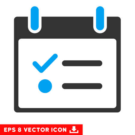 numerate: Todo List Calendar Day icon. Vector EPS illustration style is flat iconic bicolor symbol, blue and gray colors.