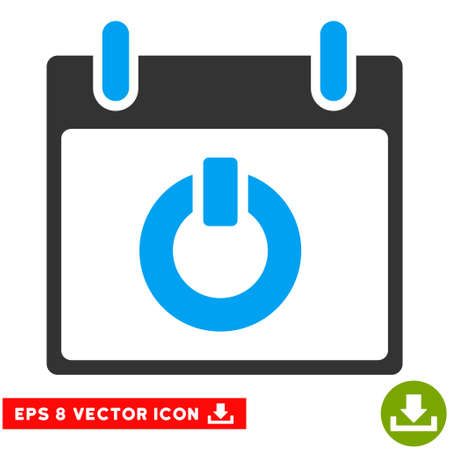 turn on: Turn on Calendar Day icon. Vector EPS illustration style is flat iconic bicolor symbol, blue and gray colors.