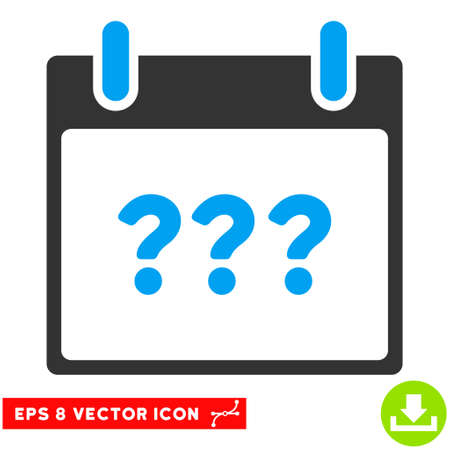 unknown: Unknown Day Calendar Page icon. Vector EPS illustration style is flat iconic bicolor symbol, blue and gray colors. Illustration