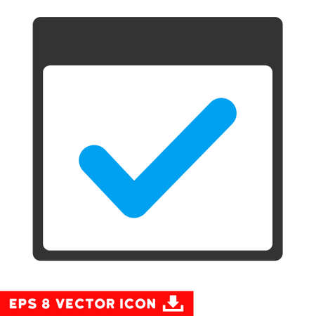 valid: Valid Day Calendar Page icon. Vector EPS illustration style is flat iconic bicolor symbol, blue and gray colors.