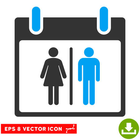 water closet: Water Closet Calendar Day icon. Vector EPS illustration style is flat iconic bicolor symbol, blue and gray colors.