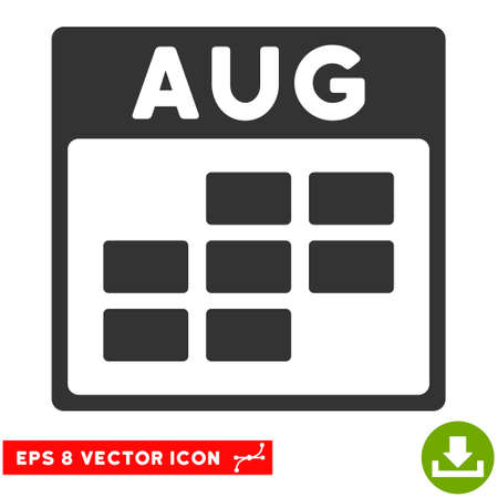 august calendar: August Calendar Grid icon. Vector EPS illustration style is flat iconic symbol, gray color. Illustration