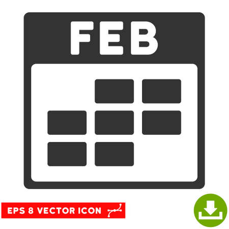 february calendar: February Calendar Grid icon. Vector EPS illustration style is flat iconic symbol, gray color.