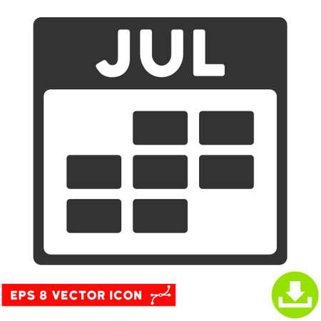 calendario julio: Julio icono de cuadrícula del calendario. Vectoriales EPS estilo de ilustración es símbolo icónico plana, de color gris.