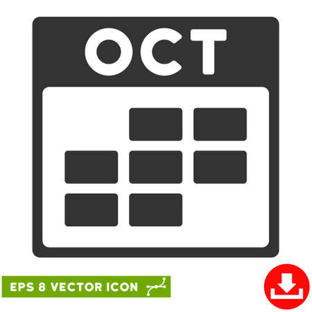 october calendar: October Calendar Grid icon. Vector EPS illustration style is flat iconic symbol, gray color.