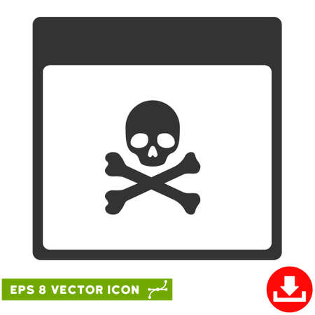 poison symbol: Poison Skull Calendar Page icon. Vector EPS illustration style is flat iconic symbol, gray color.