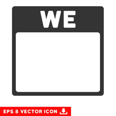 wednesday: Wednesday Calendar Page icon. Vector EPS illustration style is flat iconic symbol, gray color.