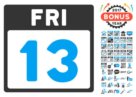 friday 13th: 13 Friday Calendar Page icon with bonus calendar and time management images. Vector illustration style is flat iconic symbols, blue and gray colors, white background. Illustration