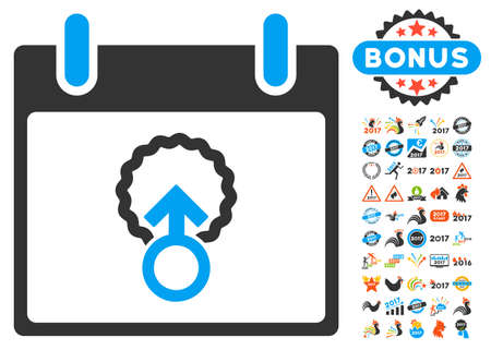 penetracion: Cell Penetration Calendar Day pictograph with bonus calendar and time management images. Vector illustration style is flat iconic symbols, blue and gray colors, white background.