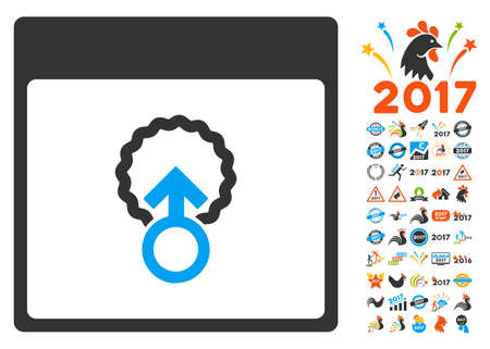 penetracion: Cell Penetration Calendar Page icon with bonus calendar and time management pictograph collection. Vector illustration style is flat iconic symbols, blue and gray colors, white background. Vectores