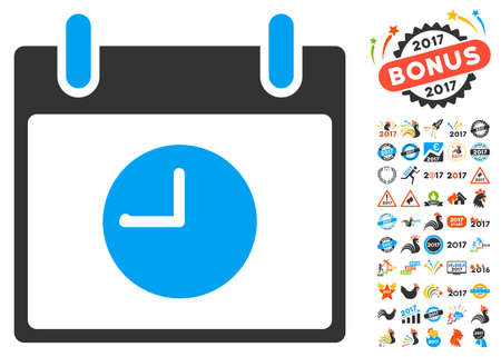 clockface: Clock Calendar Day pictograph with bonus calendar and time management design elements. Vector illustration style is flat iconic symbols, blue and gray colors, white background.