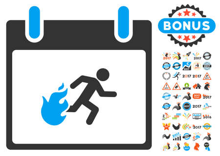 escape plan: Fire Evacuation Man Calendar Day icon with bonus calendar and time management design elements. Vector illustration style is flat iconic symbols, blue and gray colors, white background. Illustration