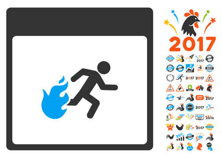 escape plan: Fire Evacuation Man Calendar Page pictograph with bonus calendar and time management design elements. Vector illustration style is flat iconic symbols, blue and gray colors, white background. Illustration