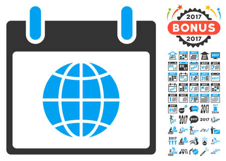 agenda browse: Globe Calendar Page icon with bonus calendar and time management graphic icons. Vector illustration style is flat iconic symbols, blue and gray colors, white background. Illustration