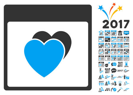 Hearts Calendar Page icon with bonus calendar and time management clip art. Vector illustration style is flat iconic symbols, blue and gray colors, white background.