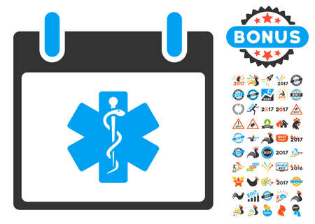 star of life: Life Star Calendar Day icon with bonus calendar and time management pictograph collection. Vector illustration style is flat iconic symbols, blue and gray colors, white background. Illustration
