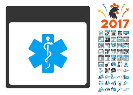 snake calendar: Medical Life Star Calendar Page icon with bonus calendar and time management images. Vector illustration style is flat iconic symbols, blue and gray colors, white background.