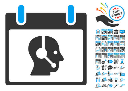 talker: Operator Calendar Day pictograph with bonus calendar and time management pictogram set. Vector illustration style is flat iconic symbols, blue and gray colors, white background. Illustration