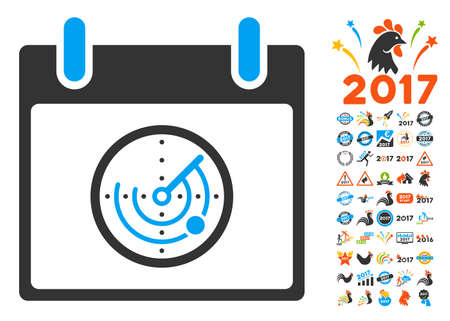 localization: Radar Calendar Day pictograph with bonus calendar and time management graphic icons. Vector illustration style is flat iconic symbols, blue and gray colors, white background.