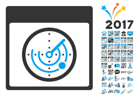 Radar Calendar Page pictograph with bonus calendar and time management symbols. Vector illustration style is flat iconic symbols, blue and gray colors, white background.