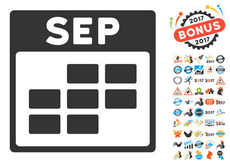 september calendar: September Calendar Grid pictograph with bonus calendar and time management symbols. Vector illustration style is flat iconic symbols, blue and gray colors, white background.