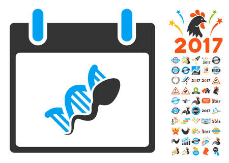 replication: Sperm DNA Replication Calendar Day pictograph with bonus calendar and time management design elements. Vector illustration style is flat iconic symbols, blue and gray colors, white background.