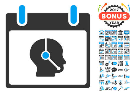 talker: Telemarketing Operator Calendar Day icon with bonus calendar and time management images. Vector illustration style is flat iconic symbols, blue and gray colors, white background.