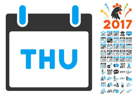 thursday: Thursday Calendar Page icon with bonus calendar and time management icon set. Vector illustration style is flat iconic symbols, blue and gray colors, white background.