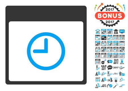 clockface: Time Calendar Page pictograph with bonus calendar and time management graphic icons. Vector illustration style is flat iconic symbols, blue and gray colors, white background.