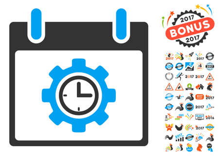 clockface: Time Gear Calendar Day pictograph with bonus calendar and time management symbols. Vector illustration style is flat iconic symbols, blue and gray colors, white background.