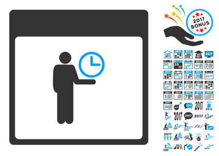 temporary workers: Time Manager Calendar Page pictograph with bonus calendar and time management clip art. Vector illustration style is flat iconic symbols, blue and gray colors, white background.