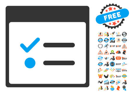 numerate: Todo Items Calendar Page icon with bonus calendar and time management pictures. Vector illustration style is flat iconic symbols, blue and gray colors, white background.