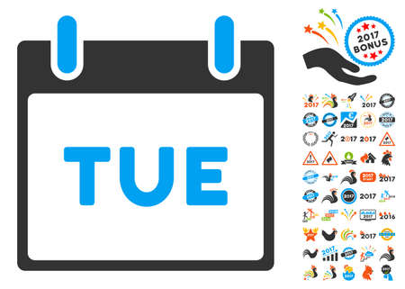 tuesday: Tuesday Calendar Page pictograph with bonus calendar and time management clip art. Vector illustration style is flat iconic symbols, blue and gray colors, white background.