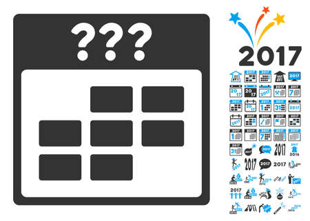 unknown: Unknown Month Calendar Grid pictograph with bonus calendar and time management clip art. Vector illustration style is flat iconic symbols, blue and gray colors, white background. Illustration