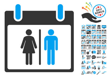 water closet: Water Closet Calendar Day pictograph with bonus calendar and time management symbols. Vector illustration style is flat iconic symbols, blue and gray colors, white background. Illustration
