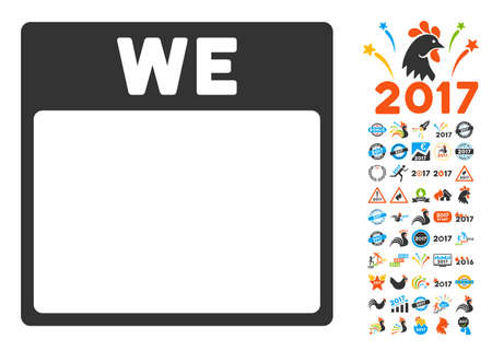 wednesday: Wednesday Calendar Page pictograph with bonus calendar and time management clip art. Vector illustration style is flat iconic symbols, blue and gray colors, white background. Illustration