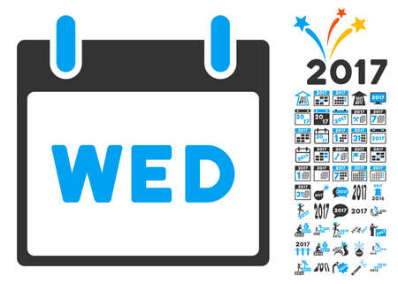 wednesday: Wednesday Calendar Page pictograph with bonus calendar and time management images. Vector illustration style is flat iconic symbols, blue and gray colors, white background.