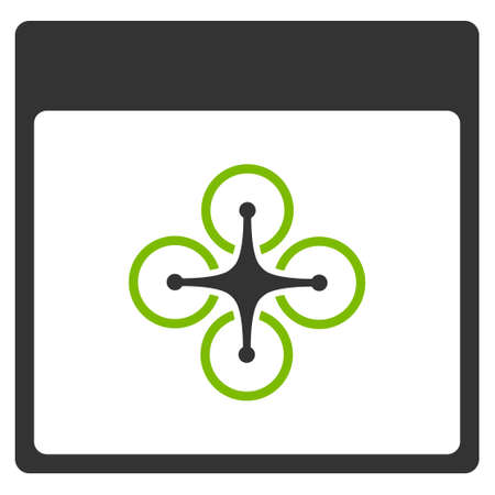 Air Copter Calendar Page vector icon. Style is flat graphic bicolor symbol, eco green and gray colors, white background.