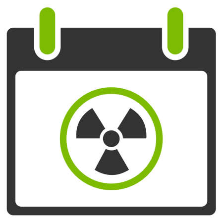 atomic symbol: Atomic Calendar Day vector pictograph. Style is flat graphic bicolor symbol, eco green and gray colors, white background. Illustration