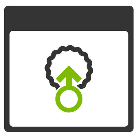 Cell Penetration Calendar Page vector pictogram. Style is flat graphic bicolor symbol, eco green and gray colors, white background.